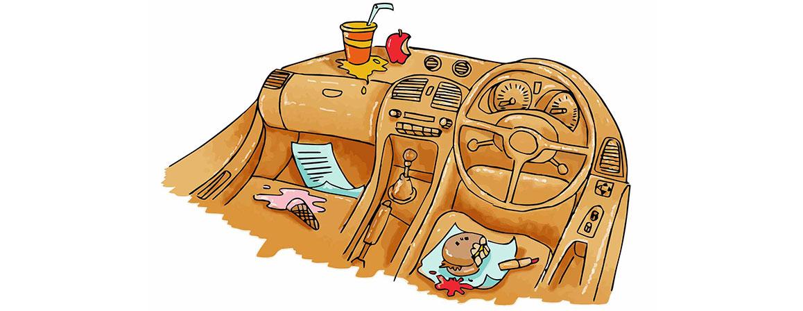 Dirty car interior